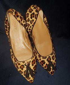 NWT J.Crew Leopard Print dyed calf hair flats!!